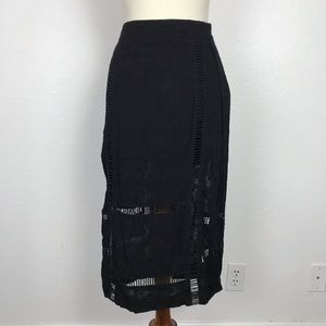 Free People Embroidered Crochet Slits Skirt
